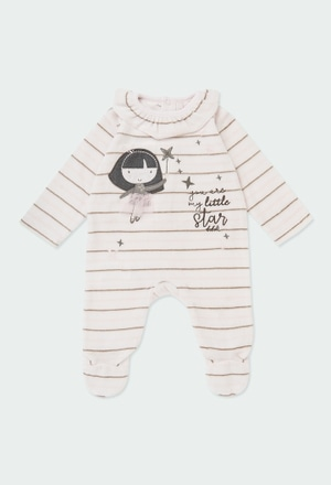 Velour play suit striped for baby girl_1