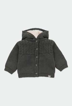 Casaco tricot com capuz do bébé_1