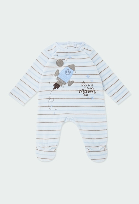 Velour play suit striped for baby boy_1