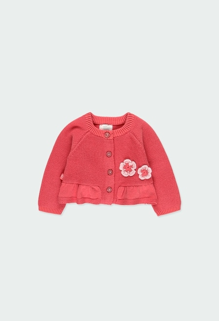 "Knitwear jacket ""floral"" for baby girl_1"