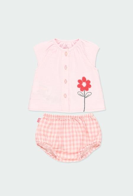 Pack de bebé niña cuadros vichy_1