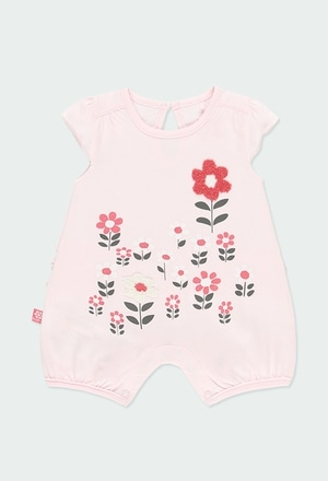 Knit play suit with ruffles for baby girl_1