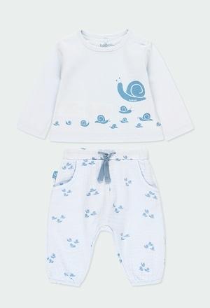 """Pack en tricot bi matiere """"escargot"""" pour bébé_1"""