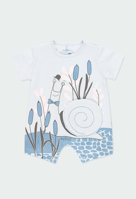 """Grenouillère en tricot """"escargot"""" pour bébé garçon_1"""