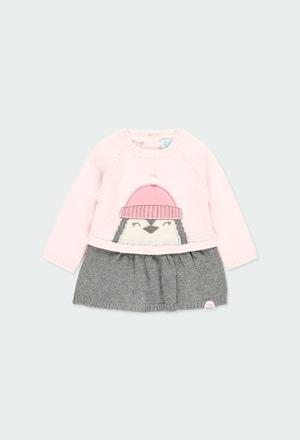 """Vestido tricot """"pinguim"""" do bébé_1"""