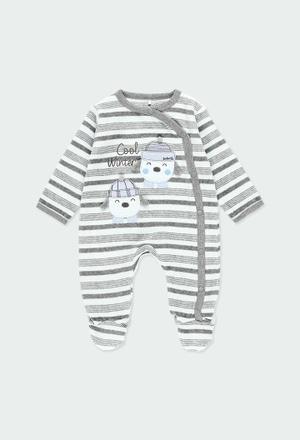 Grenouillere en velours à rayures pour bébé_1