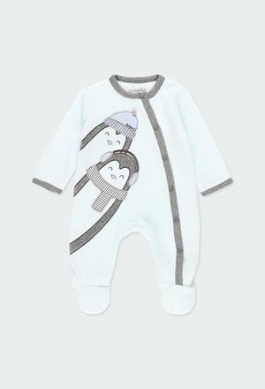 """Grenouillere en velours """"pingouin"""" pour bébé_1"""