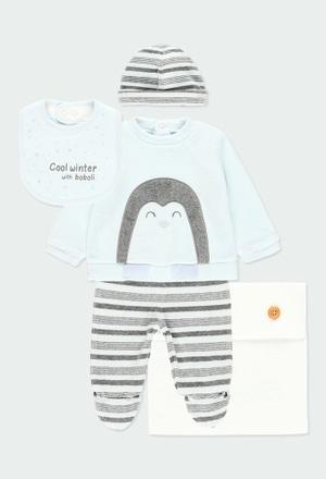 Pack 4 gestrickte Stücke mit tasche für baby_1