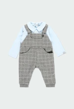 Grenouillère en tricot a carreaux pour bébé garçon_1