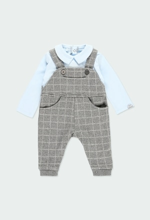 Knit play suit check for baby boy_1