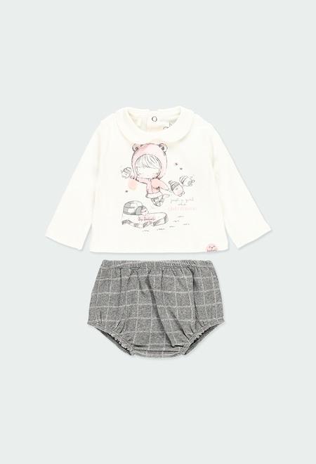 Pack en tricot a carreaux pour bébé fille_1