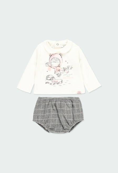 Pack knit check for baby girl_1