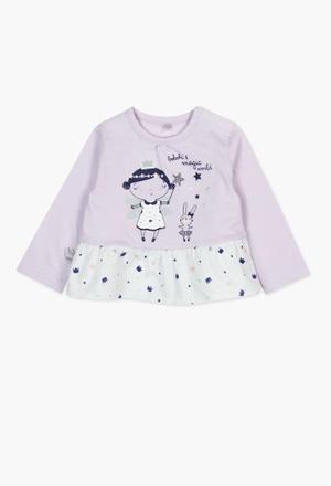 Camiseta de algodão combinada para o bebé menina_1