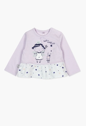 Knit combined t-Shirt for baby girl_1