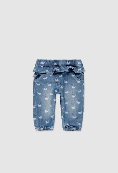 Pantalón denim elástico de bebé niña_1
