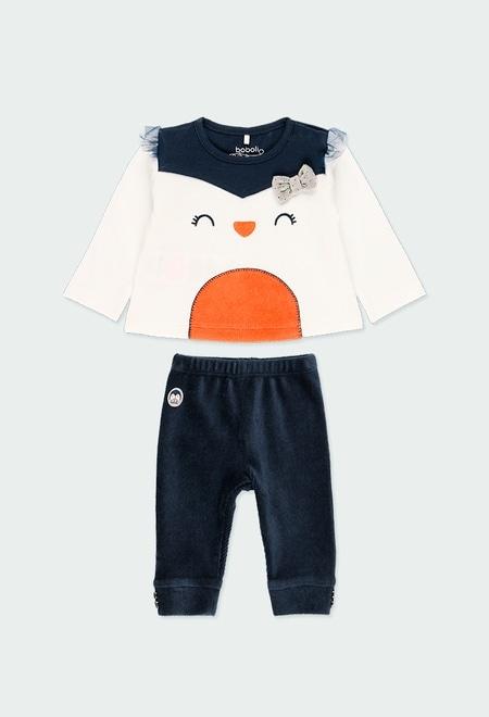 """Pack malha """"pinguim"""" para o bebé menina_1"""