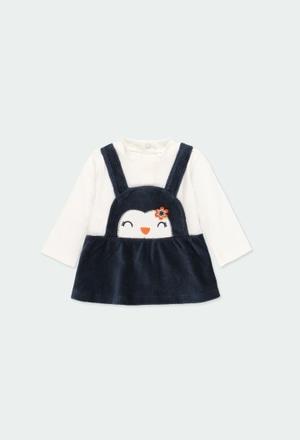 "Vestido malha ""pinguim"" para o bebé menina_1"