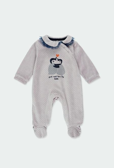 Babygrow veludo bolinhas para o bebé menina_1