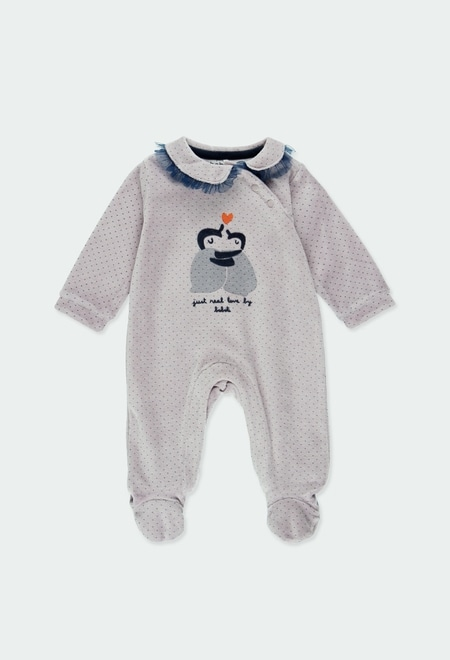 Pelele terciopelo topitos de bebé niña_1