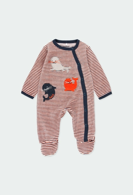 Grenouillere en velours pour bébé_1