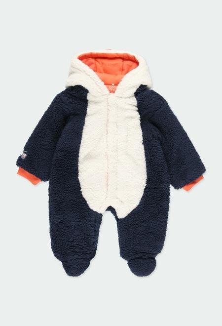 """Grenouillère """"pingouin"""" simili fourrure pour bébé_1"""
