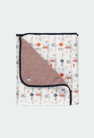 Couverture en velours à rayures pour bébé_1