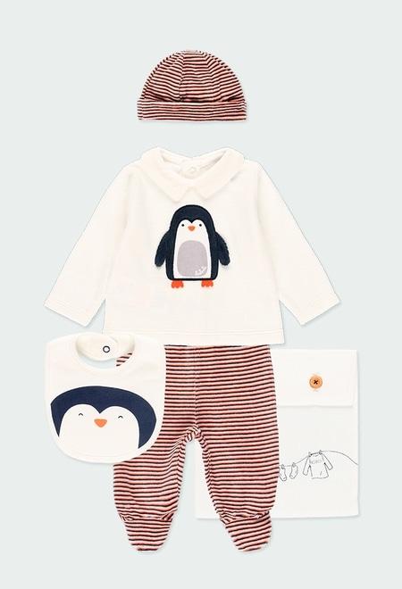 """Pack en tricot bi matiere """"pingouin"""" pour bébé_1"""