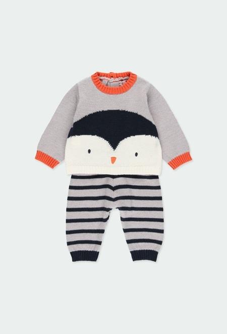 """Pack tricot """"pinguim"""" para o bebé menino_1"""