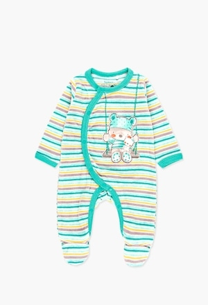 Velour play suit striped for baby_1