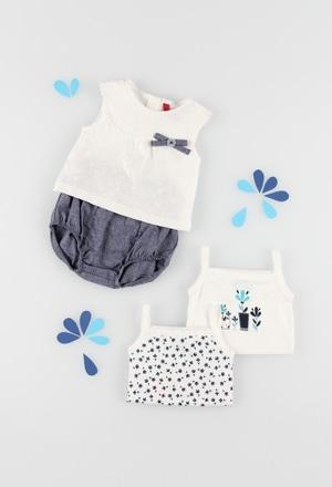Pack en tricot bi matiere pour bébé fille_1
