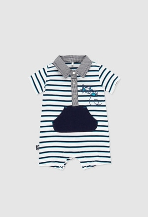 Grenouillère en tricot bi matiere pour bébé garçon_1
