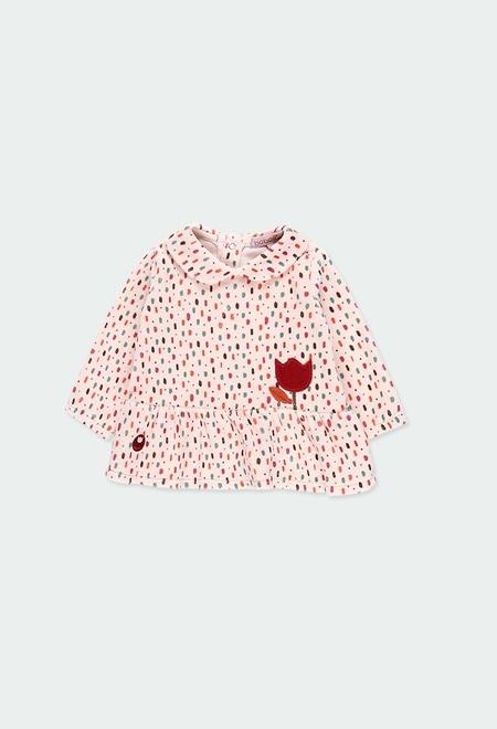 Vestido veludo bolinhas para o bebé menina_1