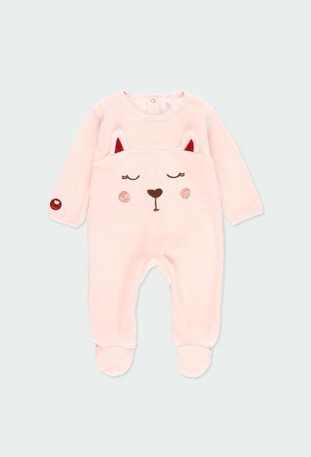 Babygrow veludo bordado do bébé_1
