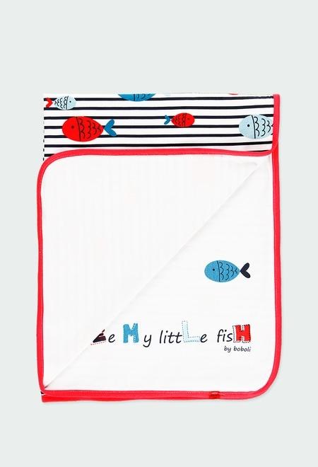 """Couverture maille """"poissons"""" pour bébé fille_1"""