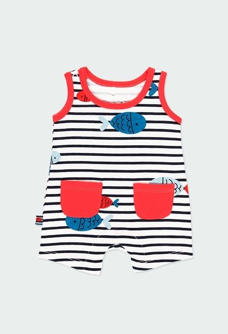 Grenouillère en tricot à rayures pour bébé garçon_1