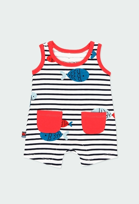 Knit play suit striped for baby boy_1