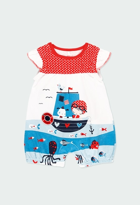 """Knit play suit """"sea world"""" for baby girl_1"""
