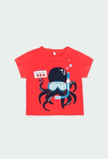 """Camiseta punto """"pulpo"""" de bebé niño_1"""