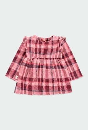 Knit dress check for baby girl_1