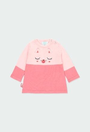 Vestido tricot bicolor para o bebé menina_1