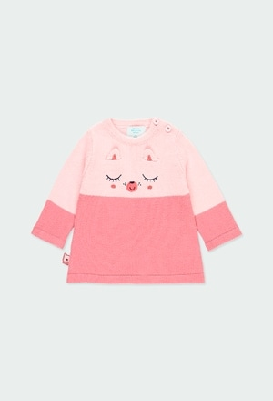 Kleid strick zweifarbig für baby mädchen_1