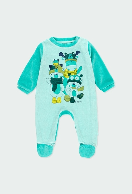 Velour play suit bicolour for baby_1