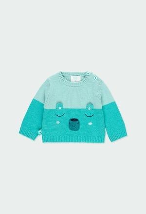 Pullover tricot bicolor para o bebé menino_1