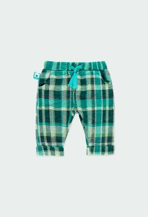 Knit trousers check for baby boy_1