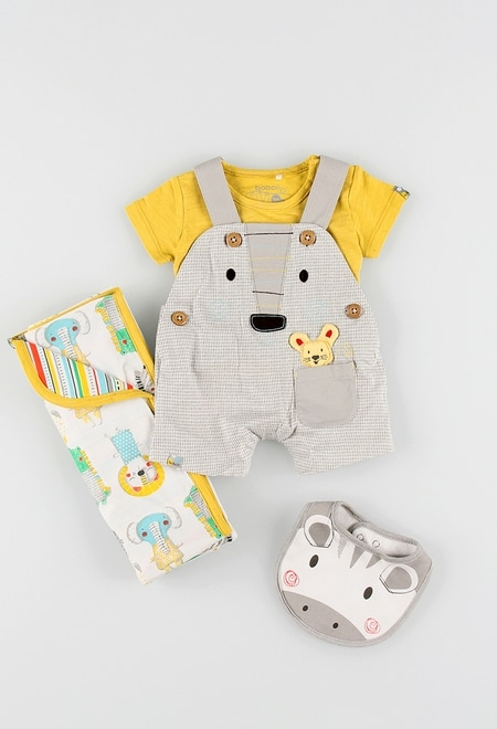Short dungarees knit for baby boy_1