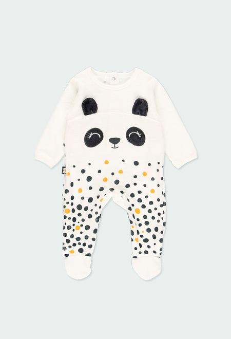 """Grenouillere en velours """"ours"""" pour bébé_1"""