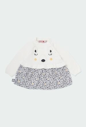 """Vestido tricot """"urso"""" para o bebé menina_1"""