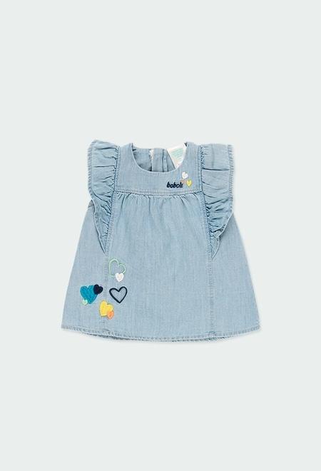 Vestido denim com folhos para o beb? menina_1