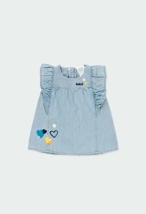 Vestido denim com folhos para o bebé menina_1