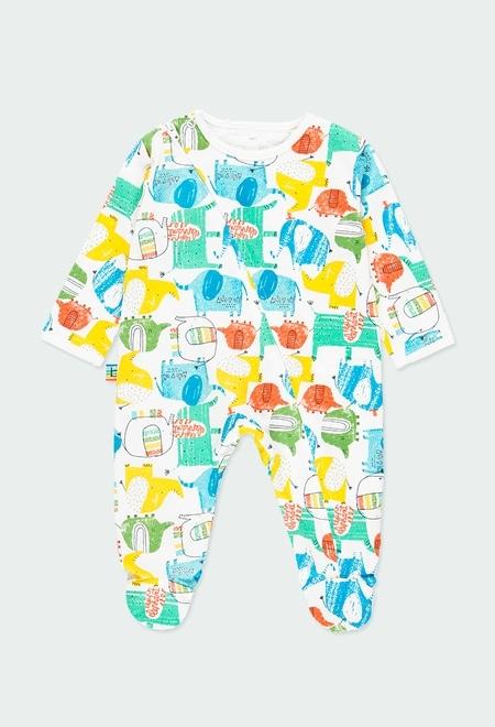"""Grenouillère en tricot """"éléphants"""" pour bébé_1"""